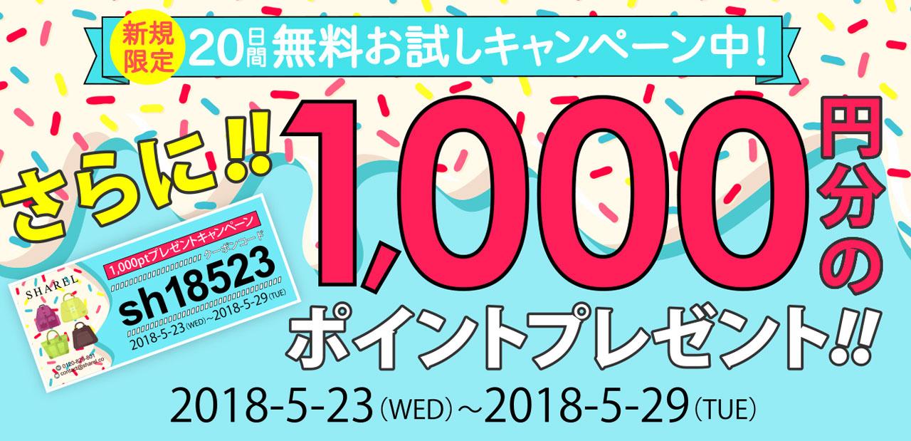 期間限定!1,000円分のポイントプレゼントキャンペーン!!