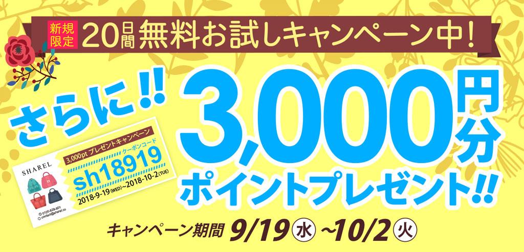 新規の方限定! キャンペーン期間中にご利用いただくと(商品発送)、3,000円分のポイントをプレゼント~♪♪