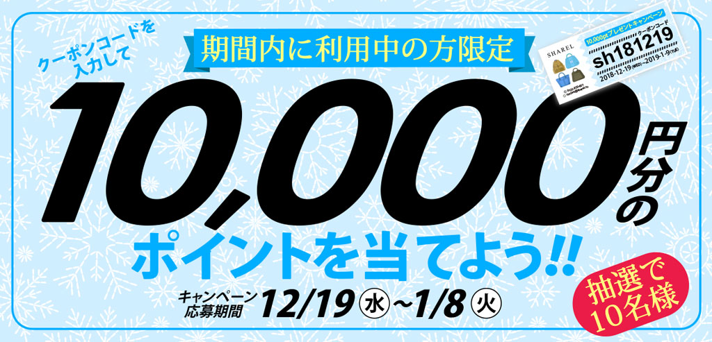 期間内に利用中の方限定!クーポンコードを入力して 10,000円分の ポイントを当てよう!!キャンペーン